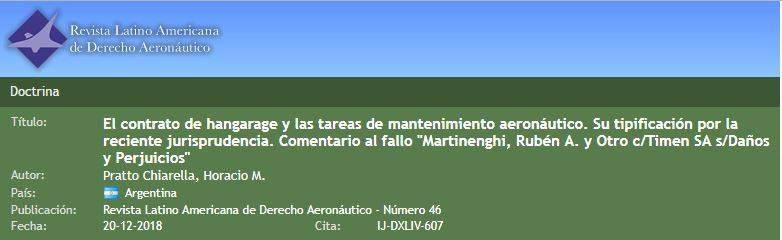 El contrato de hangarage y las tareas de mantenimiento aeronáutico. Su tipificación por la reciente jurisprudencia.