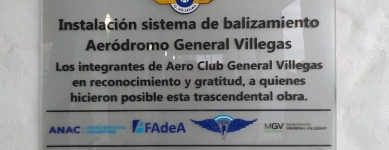 Inauguración del balizamiento de la pista del AC General Villegas (BA). Lo acontecido.